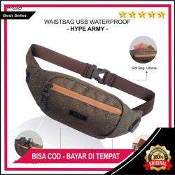 (FREE CABLE USB) TAS SELEMPANG PRIA WAIST BAG WATERPROOF ANTI SOBEK ANTI MALING ANTI AIR HEYLOOK
