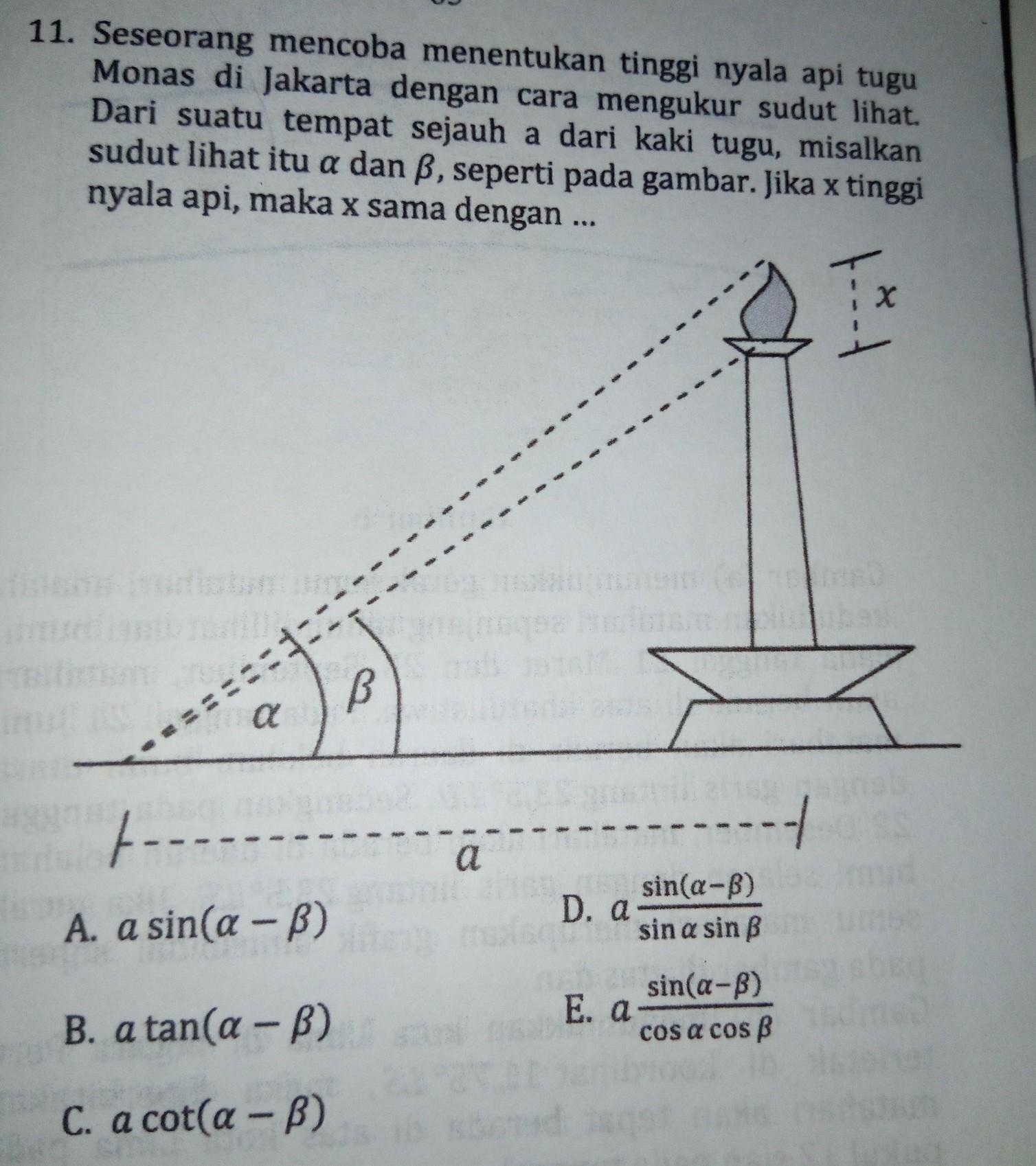 Dalam trigonometri , sudut merupakan hal yang sangat penting yang akan langsung berhubungan dengan nilai trigonometrinya (sin, cos, tan, sec, cossec, dan cot). Seseorang Mencoba Menentukan Tinggi Nyala Api Tugu Monas Di Jakarta Dengan Cara Mengukur Sudut Brainly Co Id