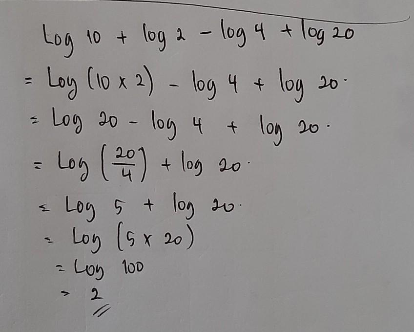Tentunya setelah itu, kamu jadi paham dan mahir dong ya. Tentukan Nilai Logaritma Berikut Log 10 Log 2 Kurang Log 4 Log 20 Brainly Co Id