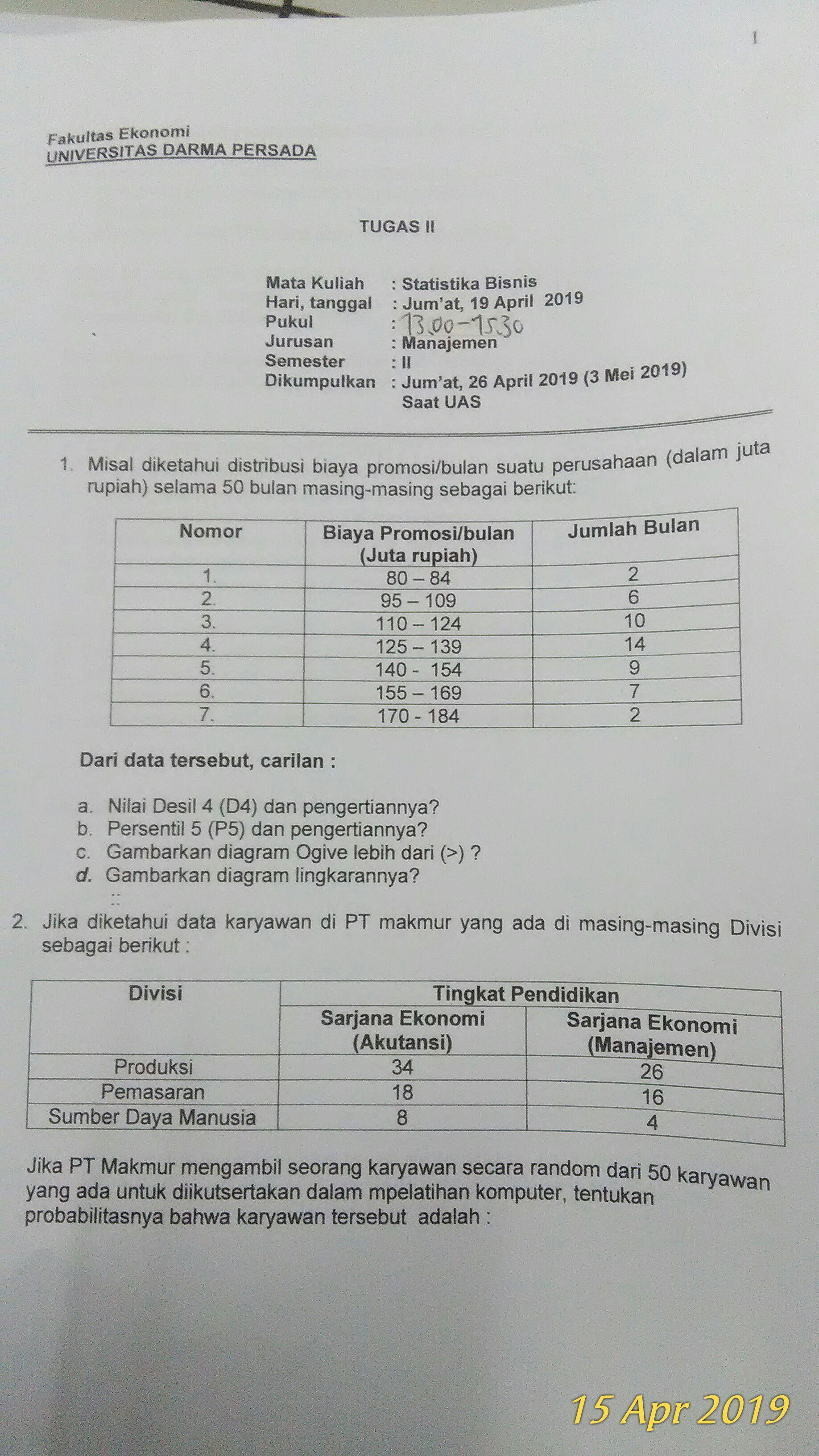 Soal ujian ut statistika semester ii (dua). Tolong Bantu Jawab Ya Untuk Soal No 1 Mata Kuliah Statistika Brainly Co Id