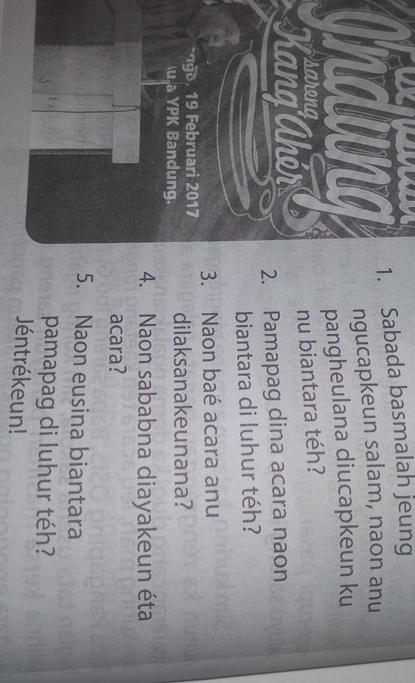 17/9/2020 · kunci jawaban bahasa sunda kelas 3 halaman 20 berikut ini kunci jawaban tema 3 kelas 3 halaman 210 212 2… pemetaan kd matematika kelas 6 semester 2 kurikulum 2013 revisi 2019 Pancen 1 Bahasa Sunda Kls 9 Hal 4 Help Me Please Brainly Co Id