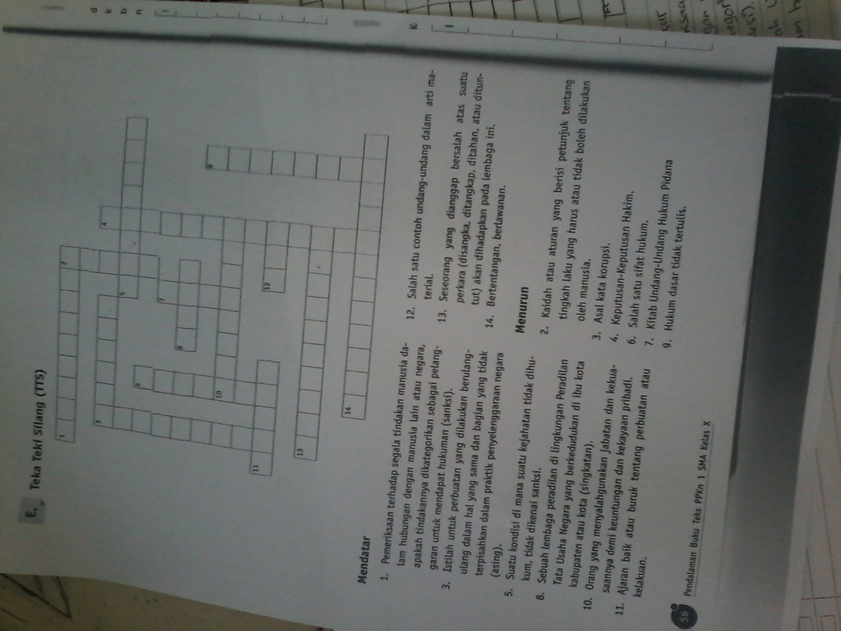 Kelas 7 smp/mts desain cover: Pertanyaan Teka Teki Silang Brainly Co Id