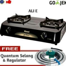 Paket Kompor Gas 2Tungku Rinnai RI-302S + Quantum Selang Regulator