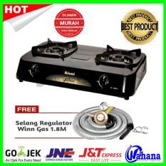 Paket Kompor Rinnai RI-302S Kompor Gas 2 Tungku +Selang Regulator Winn