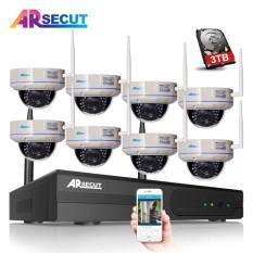 3 TB HDD 8CH H.264 NVR Nirkabel Jaringan CCTV Sistem 2.0 Juta Piksel 1080 P HD Vandalproof Kubah IR Jaringan Wifi IP Kamera Seluler APP-Internasional