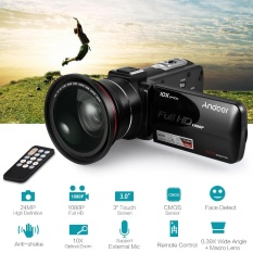 Andoer HDV-Z82 1080 P Full HD 24MP Digital Video Kamera Camcorder dengan 0.39X Sudut Lebar + Lensa Makro 3