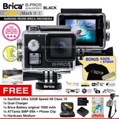 BRICA B-PRO 5 Alpha Edition Mark IIs (AE2s) WIFI 4K BLACK + ATTanta SMP-09A + Phone Clip + Battery Brica 1000mAh + Dual Charger + SanDisk 32GB Class 10 + Hardcase Medium + Kaos Brica + Sticker BPRO5