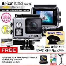 BRICA B-PRO 5 Alpha Edition Mark IIs (AE2s) WIFI 4K SILVER + 3 Way Monopod + SanDisk 16GB Class 10 + Hardcase Medium + Kaos Brica + Sticker BPRO5