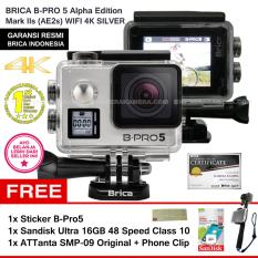 BRICA B-Pro5 Alpha Edition 4K Mark IIs (AE2s) SILVER + Sticker B-Pro + Sandisk Ultra 16Gb Speed48 Class10 + Tongsis Attanta SMP-09 Original + Phone Clip