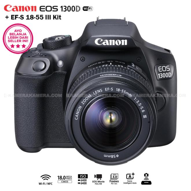Canon EOS 1300D 18MP (Wi-Fi/NFC) EF-S 18-55mm III
