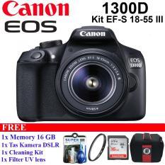 CANON EOS 1300D KIT EF-S 18-55 III Kamera Canon DSLR Free Memory 16GB + Tas Kamera DSLR + Filter UV + Clening Kit