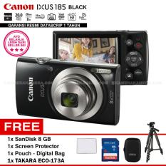 Canon IXUS 185 BLACK - Pocket Camera 20 MP 28mm Wide 8x Optical Zoom (Resmi Datascrip) + SanDisk 8 GB + Screen Protector + Pouch + Takara ECO-173A