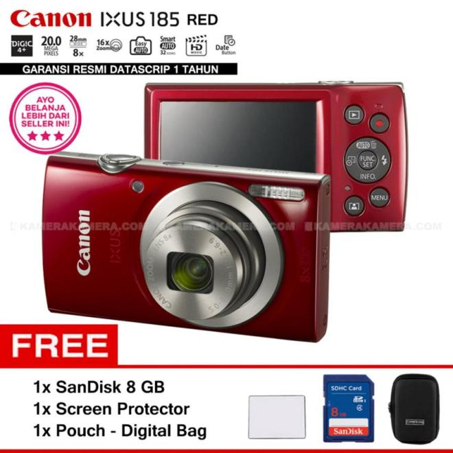 Canon IXUS 185 RED - Pocket Camera 20 MP 28mm Wide 8x Optical Zoom (Resmi Datascrip) + SanDisk 8 GB + Screen Protector + Pouch