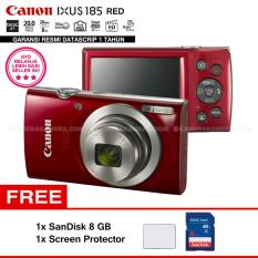 Canon IXUS 185 RED - Pocket Camera 20 MP 28mm Wide 8x Optical Zoom (Resmi Datascrip) + SanDisk 8 GB + Screen Protector