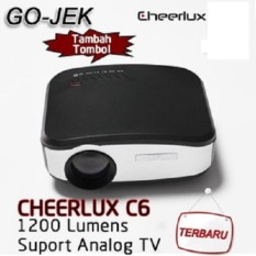 CHEERLUX C6 Mini LED Projector 800x480 1200Lm Analog TV with EU Plug-Black