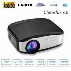 CHEERLUX C6 Mini Portable Projector WiFi Edition - Anycast - TV Tuner - 1200 Lumens - Hitam/Gold