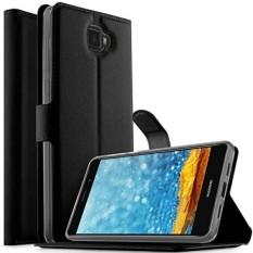 Elephone S8, kugi Ultra-tipis MX Gaya Pu Sarung + TPU Belakang Dompet Penyangga Kasus untuk Elephone S8 Smartphone (HITAM) -Internasional