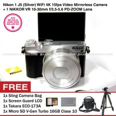 Nikon 1 J5 (Silver) WiFi 4K VR 10-30mm f/3.5-5.6 + Memory V-Gen Turbo 16GB + Screen Guard + Camera Bag + Takara ECO-173A
