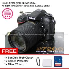 NIKON D7200 (WiFi 24,2MP HDR) + AF-S DX NIKKOR 18-140mm f/3.5-5.6G ED VR KIT + SanDisk 16Gb + Screen Protector + Filter 67mm