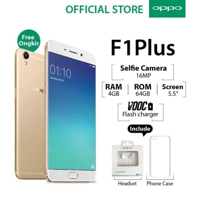 Oppo F1 Plus 4GB/64GB Gold – Smartphone Selfie Camera (Garansi Resmi Oppo Indonesia, Cicilan Tanpa Kartu Kredit, Gratis Ongkir)