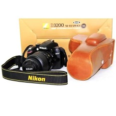 PU Leather Camera Case. Bag for Nikon D3100 D3200 D3300with18-55mmlens(Brown) - intl