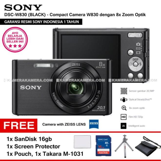 SONY Cyber-shot DSC-W830 Compact Camera W830 (BLACK) Zeiss Lens 20.1 MP 8x Optical Zoom HD Movie 720p - Resmi Sony + SanDisk 16gb + Screen Protector + Camera Pouch + Takara M-1031