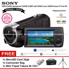 SONY HDR-CX405 Handycam CX405 9.2MP with ZEISS Lens CMOS Exmor R Full HD (Garansi 1th) + MicroSD Card 32gb + Camcorder Bag + Mini Tripod Takara M-1031