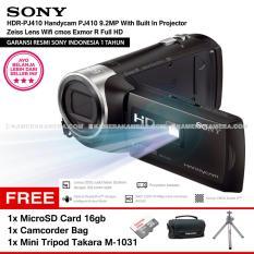 SONY HDR-PJ410 Handycam PJ410 9.2MP With Built In Projector Zeiss Lens Wifi cmos Exmor R Full HD (Resmi Sony) + MicroSD Card 16gb + Camcorder Bag + Mini Tripod Takara M-1031