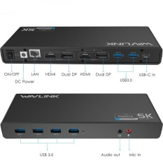 Wavlink WL-UG69DK1 15 Port USB 3.0 Jenis C 4 K HDMI DP Gigabit RJ45 Docking Station Audio Hub EU steker-Internasional