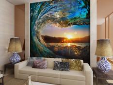 Ramah Lingkungan 3D Besar Mural Water Rising Di Sunrise untuk Tidur Sofa TV Wallpaper