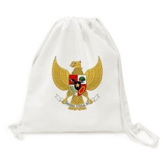 Indonesia National Emblem Country Canvas Drawstring Backpack Shopping Travel Lightweight Basic Bag Gift - intl