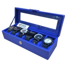 Jogja Craft - Benheur Blue Watch Box / Tempat Jam / Kotak Jam Tangan Isi 6