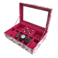 Jogja Craft - Kotak Jam Tangan Mix Tempat Accesories - Watch Box Organizer Bunga Pink