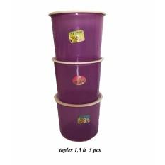 BAYIE - TOPLES Plastik Bulat isi 3 pcs ukuran 1.5 liter / toples makanan/toples kue/camilan/snack/tempat serbaguna/tempat kue dan makanan/kotak kue dan makanan