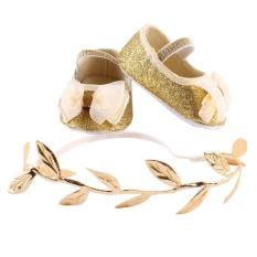 Newborn Bayi Girls Sepatu Headband Set Booties Pertama Walker (GOLDEN)-Intl