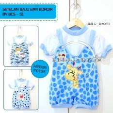 Baju Bayi Laki laki Setelan Bordir BCS-51 BLUE RANDOM GAMBAR / Baju bayi perempuan / pakaian bayi / kaos bayi /perlengkapan bayi