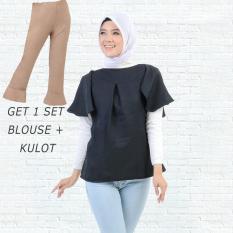 Ayako Fashion Get 1 Set Blouse Rumbai Hitam & Celana Kulot Coklat