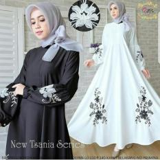 Baju Muslim New Tsania Dress Baloteli Mix Bordir Gamis Panjang Hijab Casual Pakaian Wanita Hijab Modis @rk