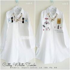 Baju Original Catty White Tunik Wolfice Atasan Wanita Muslim Modern Pakaian Cewek Santai Simple Casual Trend 2018