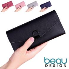 BEAU Dompet Wanita Import Batam Branded Kulit Terbaru Quality PU Leather Lock Women Purse Wallet
