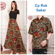 Cj Collection Couple batik rok lilit maxi panjang wanita jumbo long skirt dan atasan kemeja pria shirt Delina