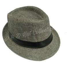 D & D Collection Men Women Casual Fedora Panama Hat / Topi Fedora Panama Dewasa Pria Dan Wanita (Abu-abu)