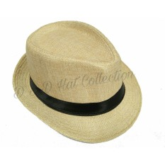 D & D Collection Men Women Casual Fedora Panama Hat / Topi Fedora Panama Dewasa Pria Dan Wanita (Krem)