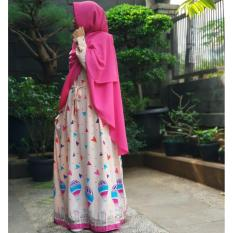 Gamis Linen Umbrella Motif Ballon (Peach)