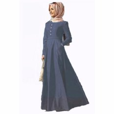 Jfashion Long Dress Gamis Maxi Tangan Panjang Wanita Dewasa - Chambray