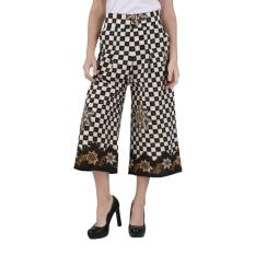 Oktovina-HouseOfBatik Celana Kulot Katun - Monochrome Batik CKKM-3 – Hitam Putih