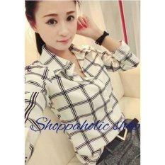 Shoppaholic Shop Blouse Kemeja Yumi -White / Baju Wanita / Blouse Korea / Atasan Wanita / Baju Formal / Kemeja Wanita / Kemeja Formal / Atasan Muslim / Kemeja Cewek Tunik / Kemeja Kerja / Kemeja Katun
