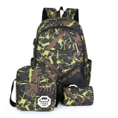 Tiga Potong USB Backpack Tas Komputer Travel Bag Shockproof Tote Bag Outdoor Sports Backpack Hiking Backpack Climbing Backpack Mountaineering Backpack Original Herschel (Hijau) -Intl