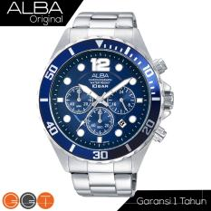 Alba Chronograph Jam Tangan - Strap Stainless Steel - AT3911x1 - Blue