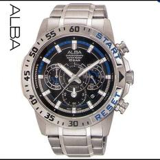 Alba Sport Chronograph - Jam Tangan Pria - Silver - Stainless Steel - AT3895-V